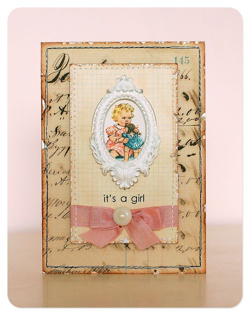 Card - it's a girl vintage graphic copy