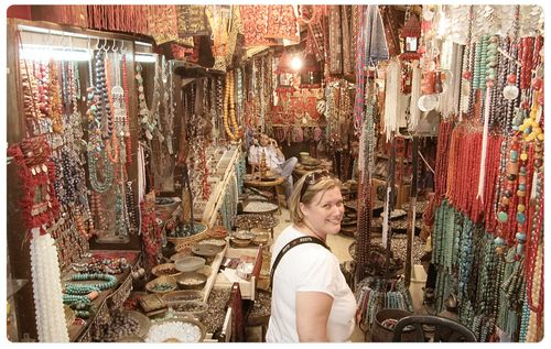 Carolyn in a bead shop