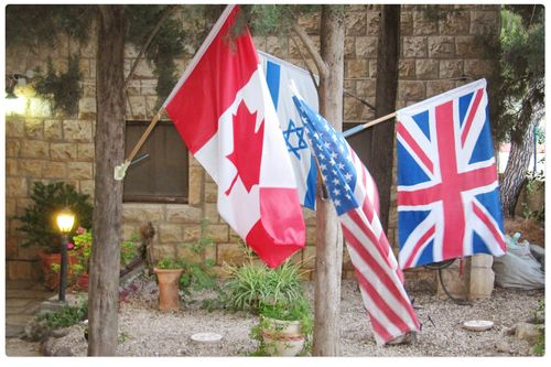 Flags outside safed inn