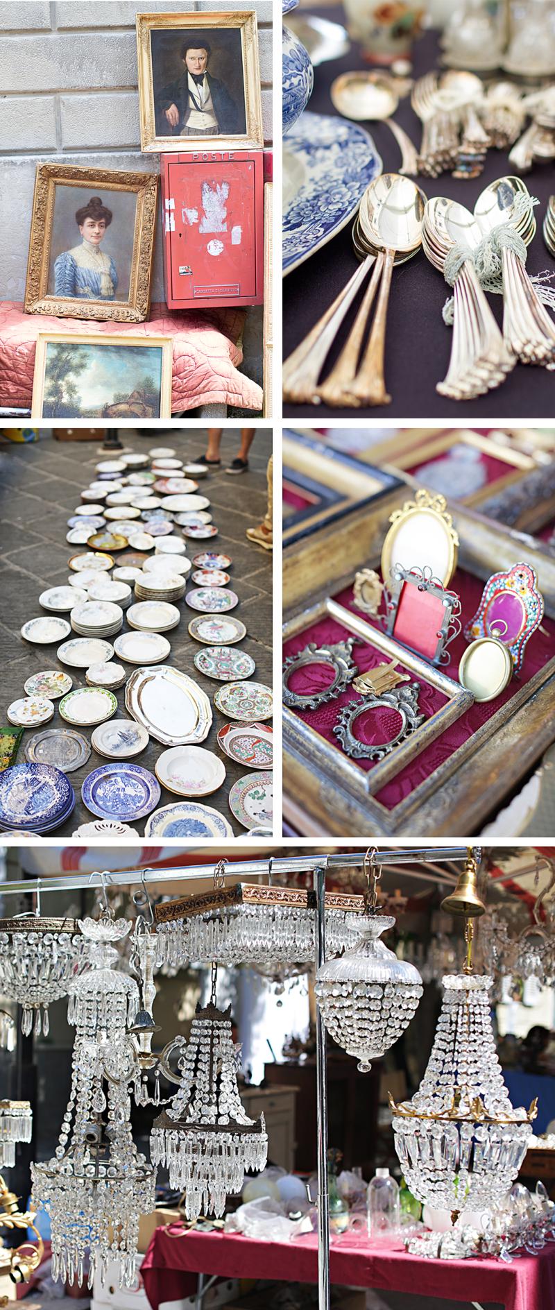 Antique market image collage