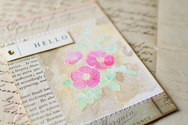 Hello card with magenta roses view 2