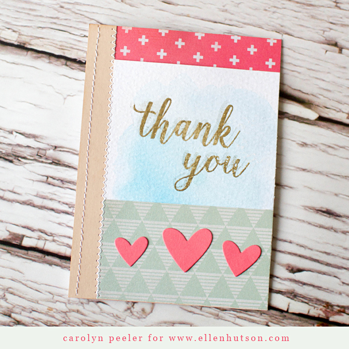 Thank you card ellen hutson on wood background