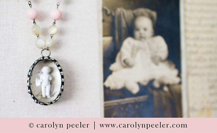 Close up of mini charlotte necklace by carolyn peeler