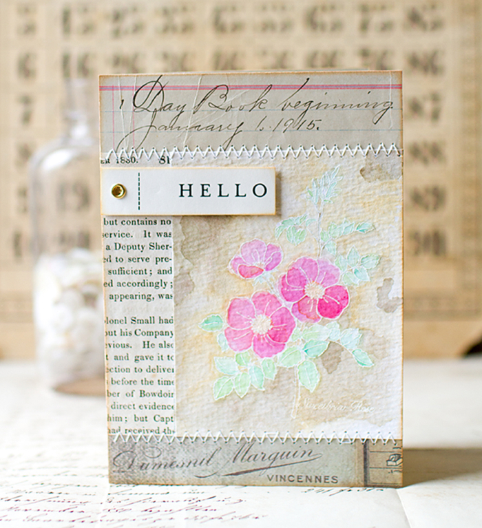 Hello card with magenta roses