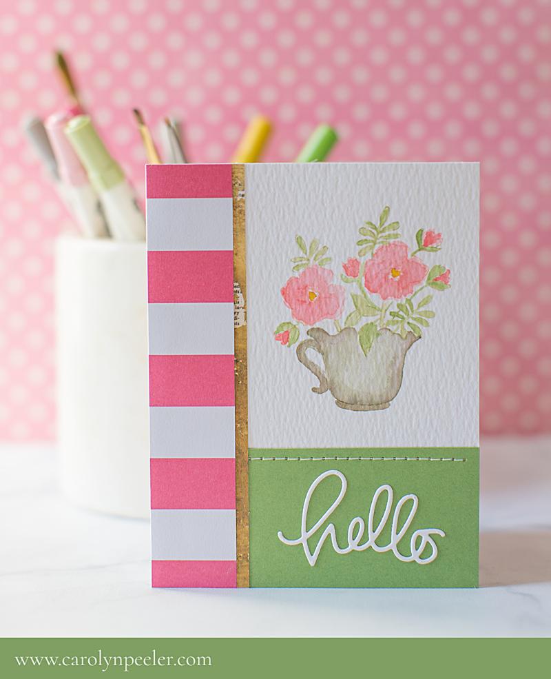 Hello flower bucket card