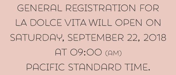 Registration will open 2019