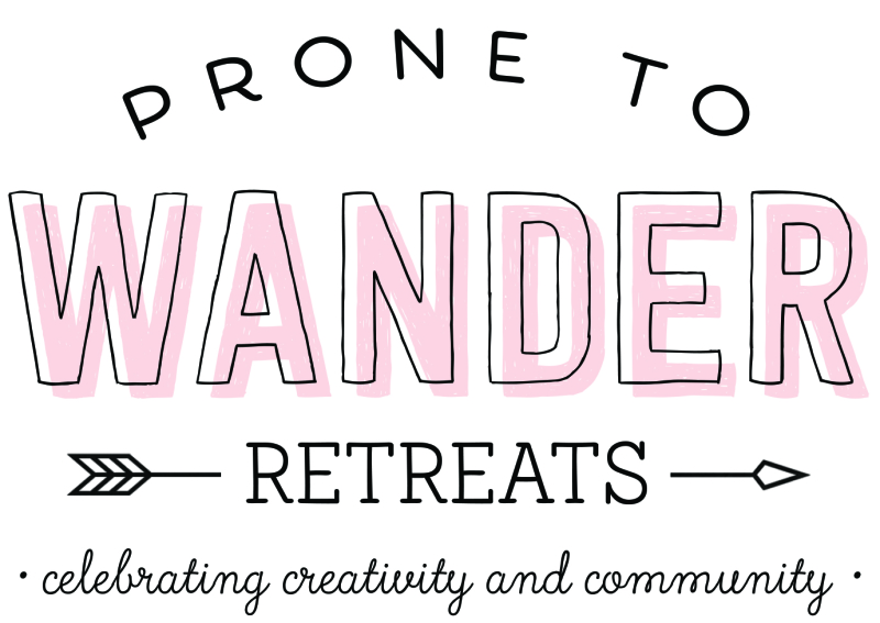 Prone to wander retreats logo with byline